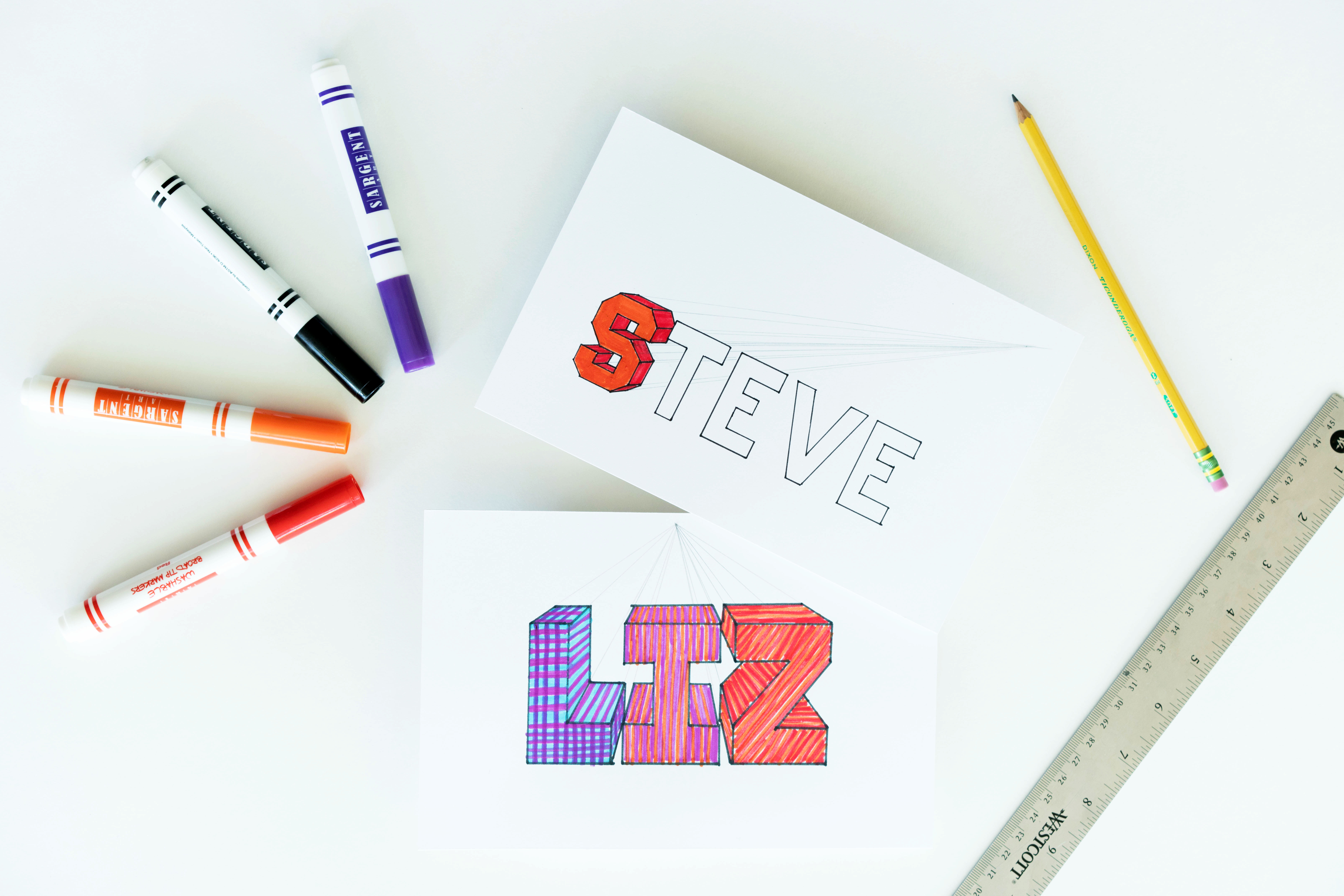 how to design your name on paper